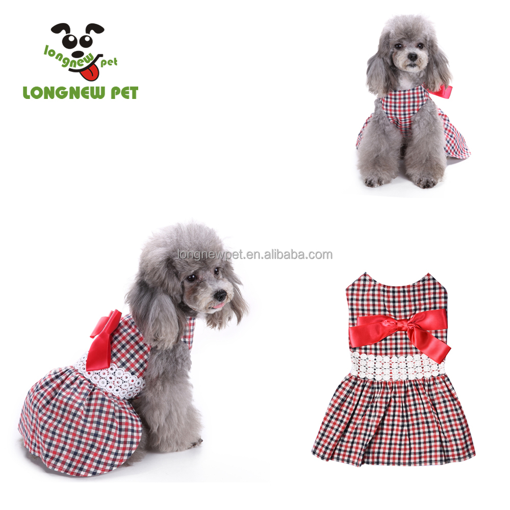Summer Dog Dress Fashion Pet Shirts Casual Plaid Clothes Cat Apparel For Small Medium Dog