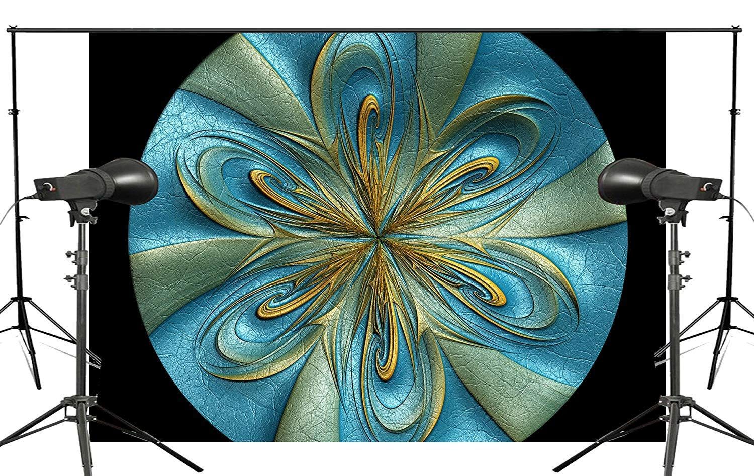 ERTIANANG Exquisite Colorful Flower Circle Photography Background Abstract Dimensional Black Blue Green Yellow Backdrops Art