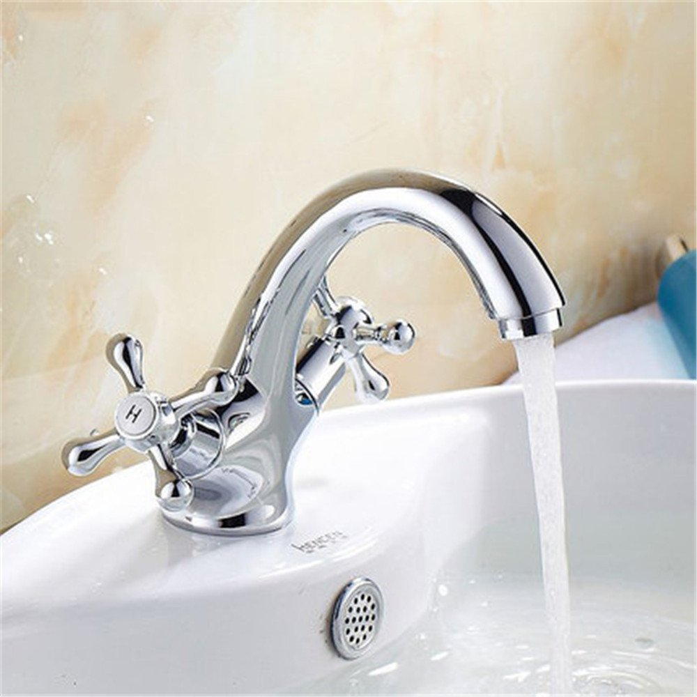 FHLYCF Basin faucet, washbasin faucet, waterfall, single hole, hot and cold water table basin, all copper washbasin, sink head