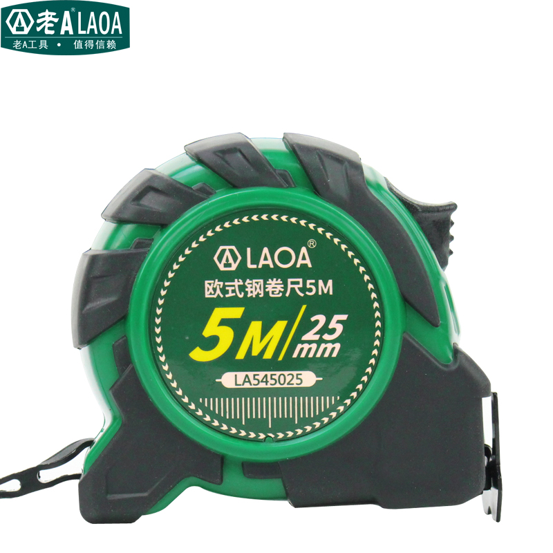 LAOA Europe style anti-impact rubber covered steel Measuring Retractable Tape with double scales