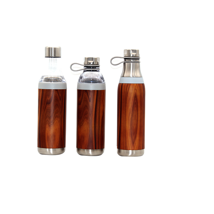 Stainless Steel And Glass Double Wall Insulated Vacuum Water Bottle 2 In 1 With Holder