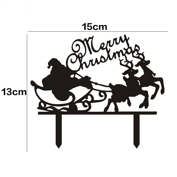 Acheter Joyeux Noël Père Noël Drapeaux Gâteau Noir Blanc Acrylique Gâteau Toppers Pour Noël Party Decor Vente Chaude De 2192 Du Griffith