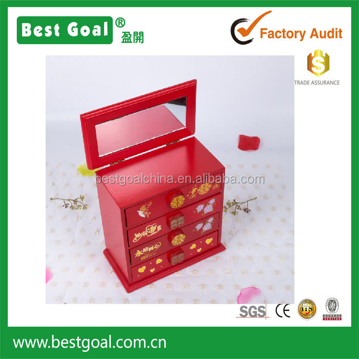 Chinese Wooden marriage 4 drawer armoire Jewelry Box Wholesale