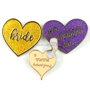 Cheap Custom High Quality Heart Shaped Pin Badges Metal Plated Enamel Lapel Pin With Glitter