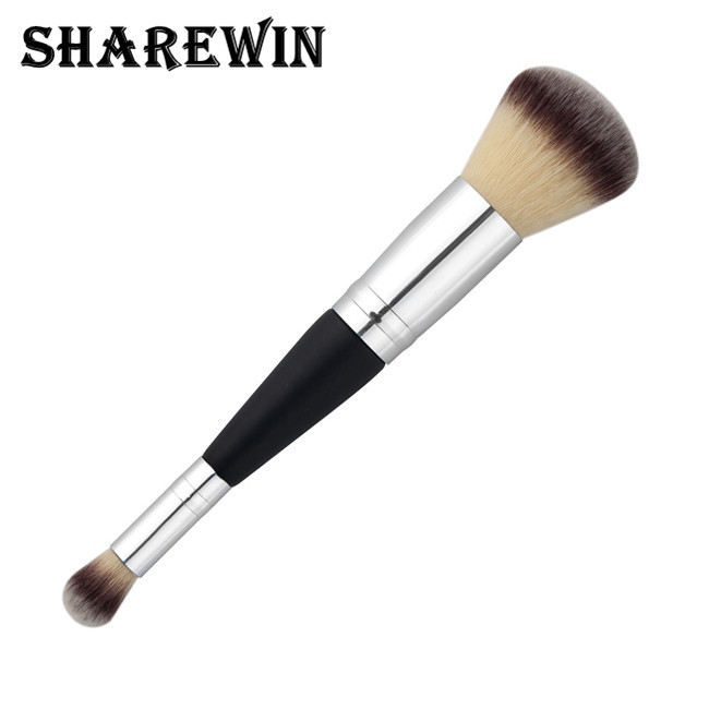 Silver black double head blush makeup brush and highlight