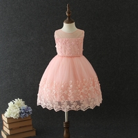 Wholesale clothes turkey baby girls summer one piece party dress white princess flower Vietnam wedding dresses for 4 years old