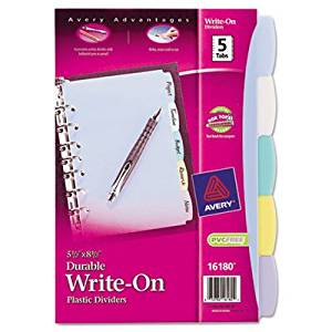 "Translucent Durable Write-On Reference Index Dividers [Set of 2] Size: 11"" H x 8.5"" W"
