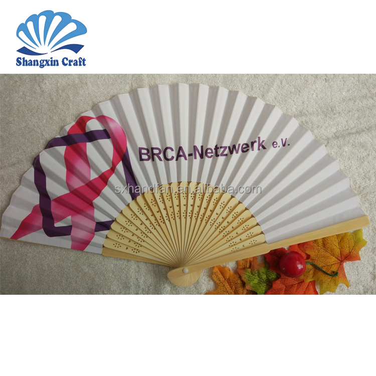 Logo custom evetns & party favor promotional printed folding bamboo paper fan
