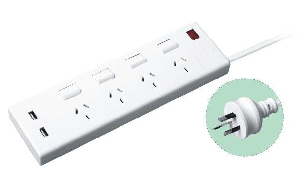Australian power strip 4 way power strip with 2 usb socket