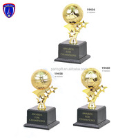 New designs gold plated metal football trophy with soccer shaped