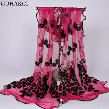 Women Peacock Floral Lace Voile Chiffon Scarf Soft Shiny Shawl Ladies Long Silk Scarves 21 Colors