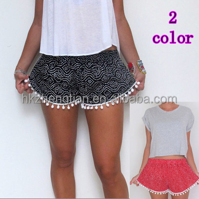 walson wholesales apparel Summer printed short women taseel shorts hot style in Europe and the foreign trade women's wear shorts