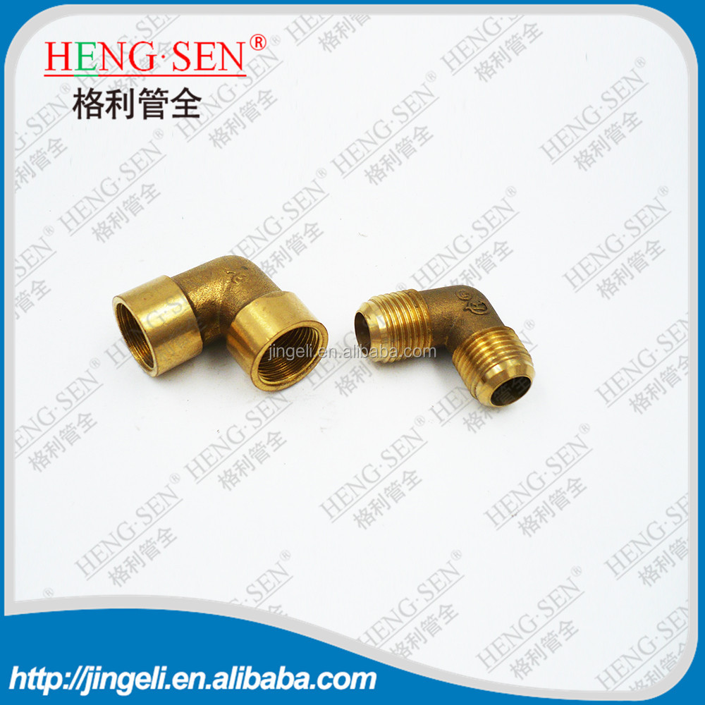"Brass 3/8"" OD x 3/8"" Female NPT 45 Flare 90 Degree Elbow Tube Fitting"