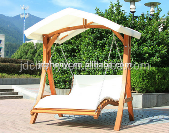 Garden Wooden Swing Bed With Canopy