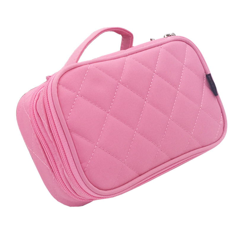 Multifunctional 2 zipper cosmetic pouch with handle nylon diamond shape cosmetic bag with mirror