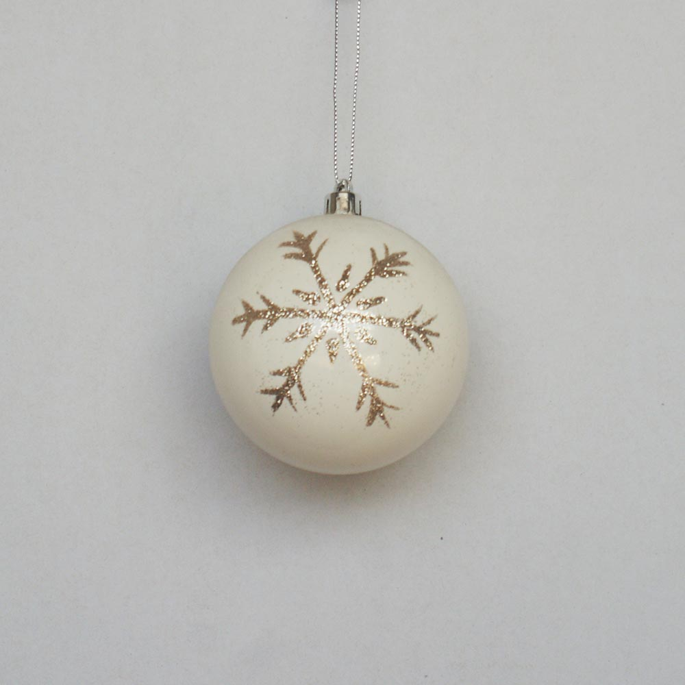 Christmas decoration 8cm plastic painted ball with snowflake design
