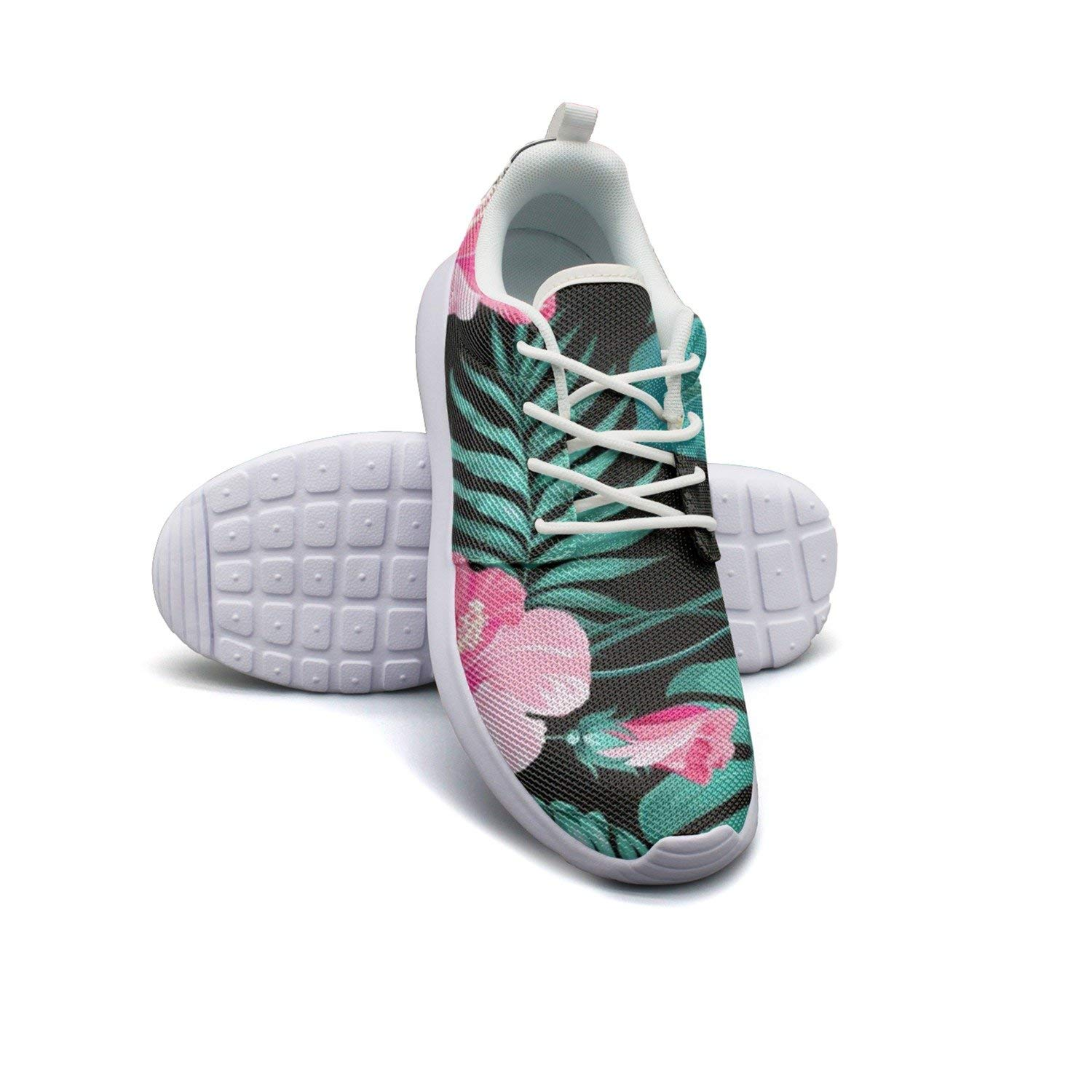 HJXJESSIE Woman's Tropical Flowers And Palms Running Shoes Jogging Runner Sports Sneakers