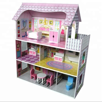 2018 Wooden Toy Big Box Accessory Diy Pink Large Europe Three Floor Doll House WDH005