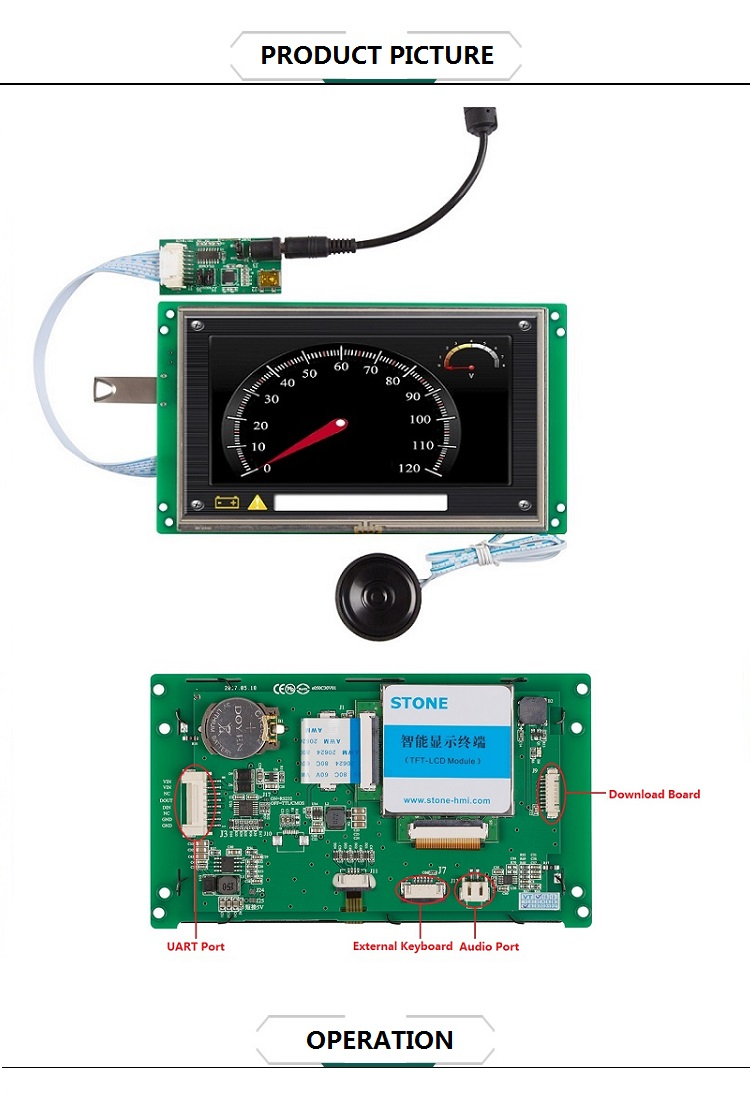 Lcd Intelligent Display Touch Screen Capacitive With Interface 5 Inch