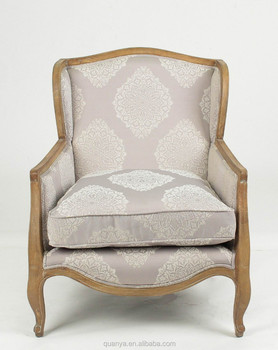 French Style Square Back King Throne Wood Chair Upholstered Accent Chair