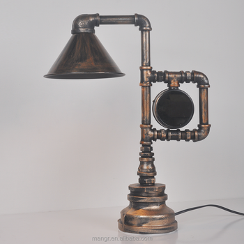 Table Light MG 4040 Vintage Industrial Rusty Water Pipe Bedside Table Lamp  With
