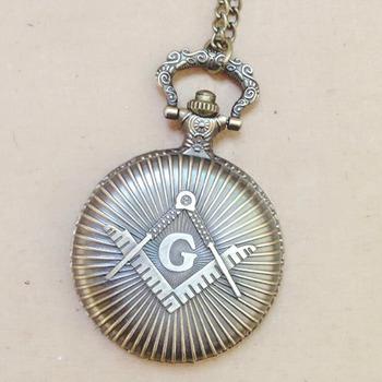 9031c524c Masonic Free-Mason Freemasonry Design Antique Bronze Fob Pocket Watch With  Chain Necklace