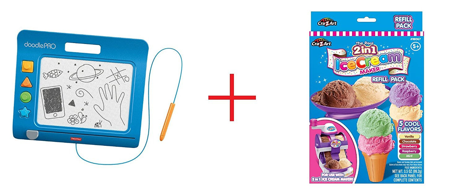 Fisher-Price DoodlePro Slim - Blue and Cra-Z-Art Twirl & Swirl Ice Cream Maker - Refill Pack - Bundle