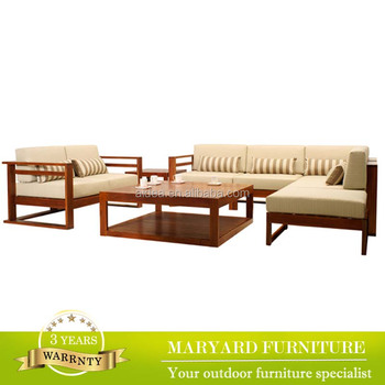 Outdoor Indoor Furniture Sectional Sofa With Cushion Wood Sofa
