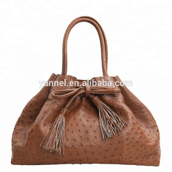 949537a46a96 Women Ostrich skin tote bags ladies fashion ostrich leather bag with tassel