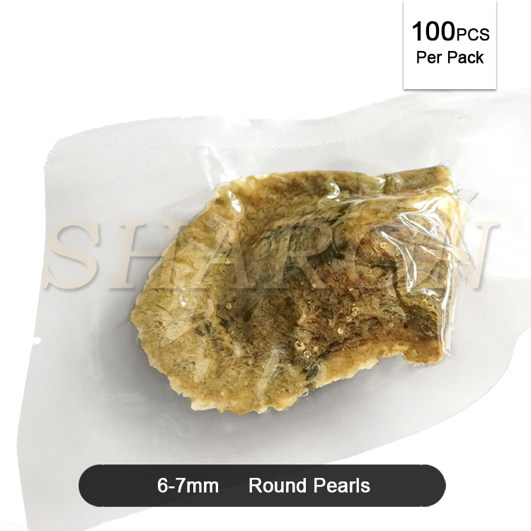 Love Wish Pearl Party Gift Vacuum-packed 6-7mm Loose Saltwater Round Cultured Akoya Pearl in Oyster