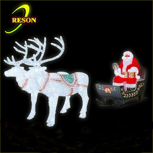 Outdoor Christmas decoration lighted christmas reindeer sleigh with santa