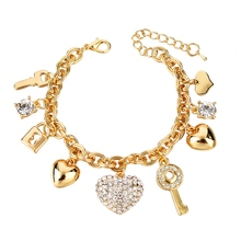 Fashion Heart Beetle Charm Bracelets Bangles For Women Real Gold Plated Bracelet Austrian Crystal Chain Pulseras SBR140221