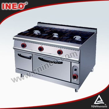 3 Burners Commercial Gas Stove With Oven And Top Electric