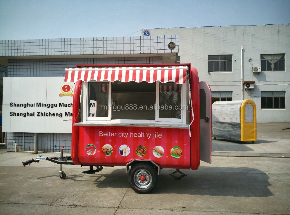2016 fabricant remorque snack cart, electric vehicle mini caravan fast food truck, mobile catering van for fast food