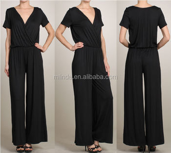 fashion Wide leg jumpsuit with cross over bodice and short sleeves