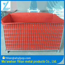 Red Interior Warhouse Stacking Foldable Metal Cage Storage Container