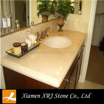 Spain Crema Marfil Marble Countertop Molded Sink