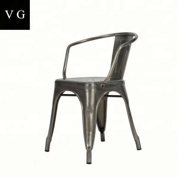 Retro style restaurant no folded metal iron dining chair