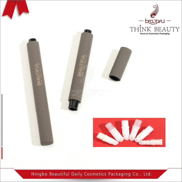 Classical aluminum 3ml click cosmetic pen in soft touch gray finish which fix up with different applicators