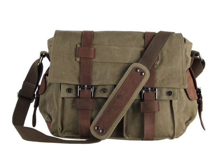 Get Quotations · 9002N J.M.D New Style Vintage Canvas and leather Men s Army  Green Color Briefcase Messenger Bookbag Outdoor 3ec30448d93