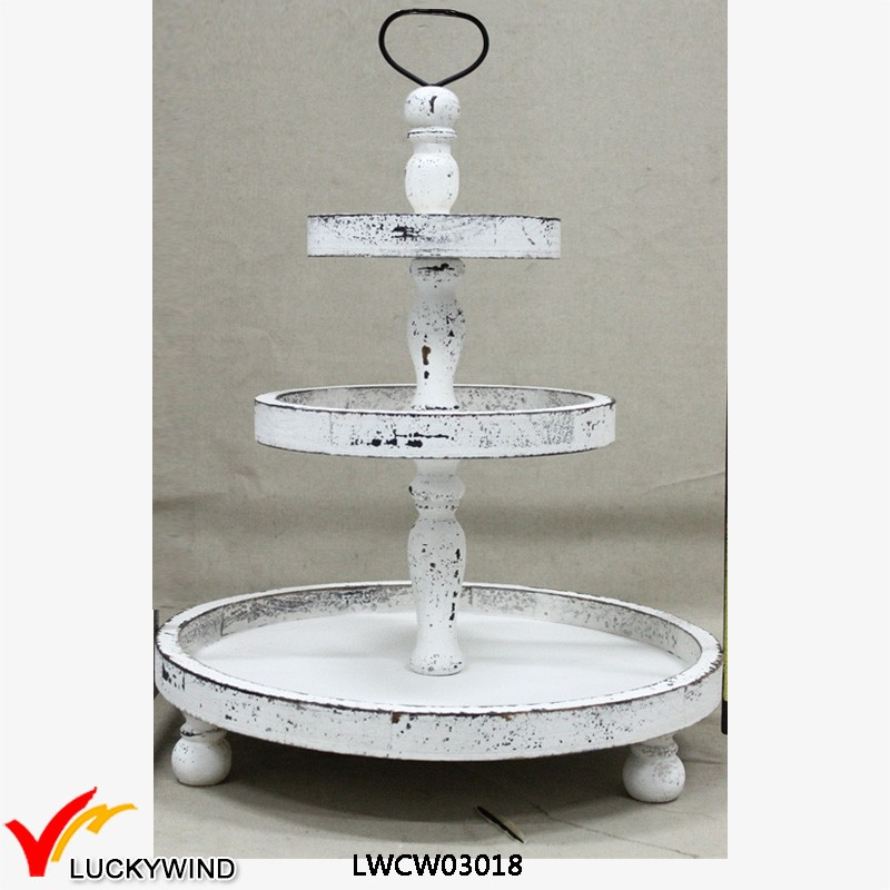 Manmade White Round 3 Tiers Shabby Chic Wooden Tray Stand