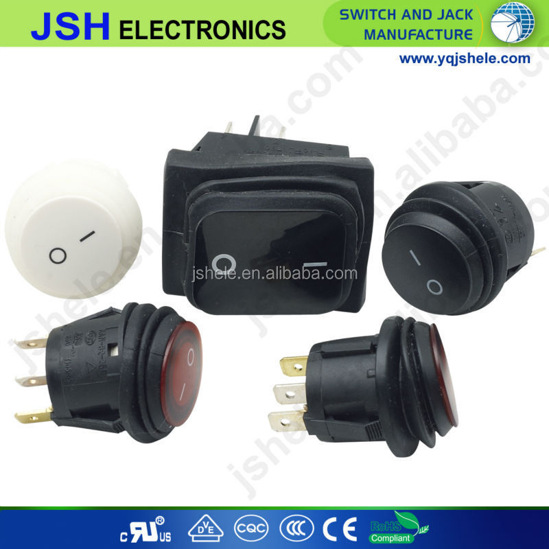 black and white waterproof rocker switch from JSH manufacturer