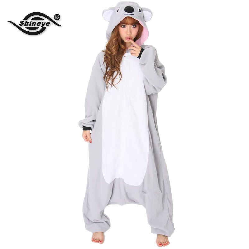 Get Quotations · Shineye Koala Unisex Adults Casual Flannel Hooded Pajamas  Cosplay Cartoon Cute Animal Onesies Sleepwear Leopard For 36caa74fa