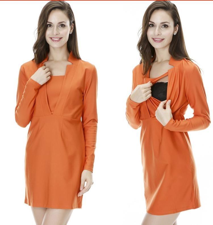 Attractive Price New Type Nursing Sex Dress Formal style Deep V Neck Maternity Business dress