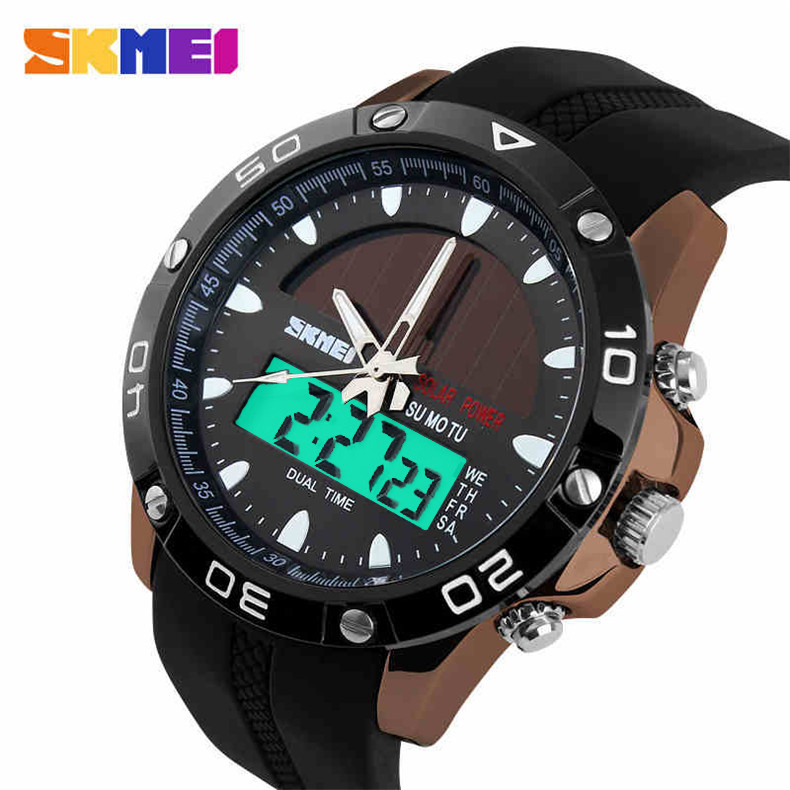 2015 Hot Solar Energy Watch Men's Digital LED Sports Watches Men Clock Dive Military Wristwatches Relogio Masculino Reloj Hombre