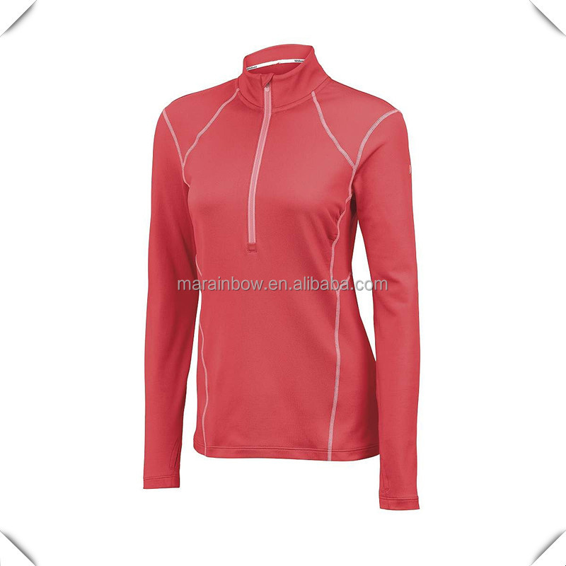 ladies dri fit Zip Neck Long Sleeve golf sport shirts, China manufacturer golf pullover shirts wholesale