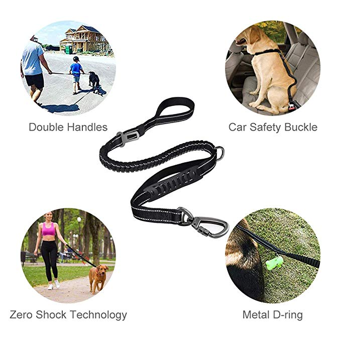 6FT Strong Nylon Dog Leash with Highly Reflective Threads and Bungee Buffer Leash and padded handle,dog car seat belt