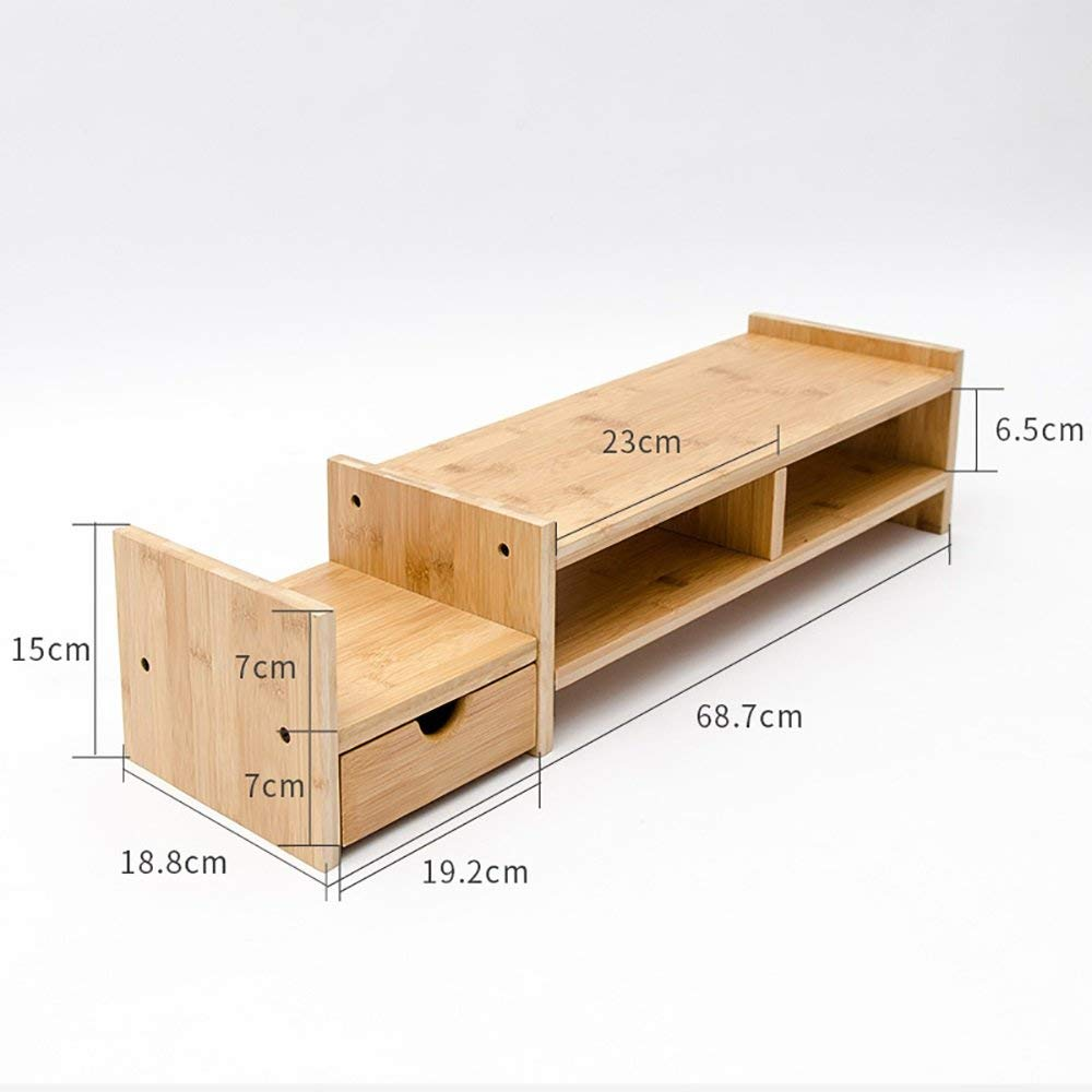 Buy Monitor Laptop Stand Riser with 1 drawer Natural