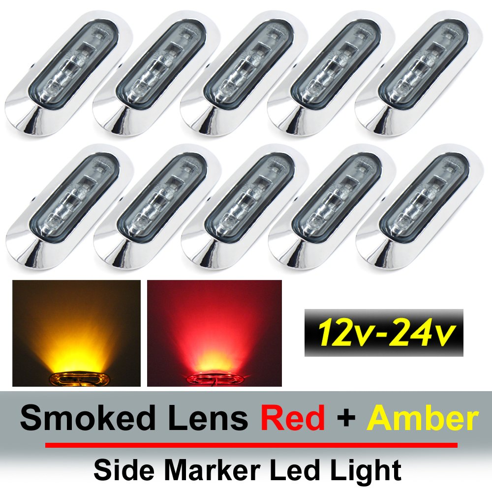 "10 pcs TMH 3.6"" submersible 4 LED Smoked Lens Red & Amber Side Led Marker ( 5 + 5 ) 10-30v DC , Truck Trailer marker lights, Marker light amber, Rear side marker light, Boat Cab RV"