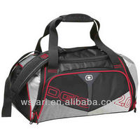Sublimation digital printing Red silver sports travel bag, custom garment gym duffel holdall bag, promotional gifts duffle bag